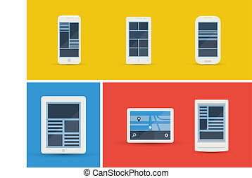 Vector illustration set of abstract simplistic user interface layout on different mobile devices. Isolated on yellow, blue and red background.