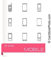 Vector mobile icons set on grey background