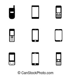 Vector mobile icons set on white background