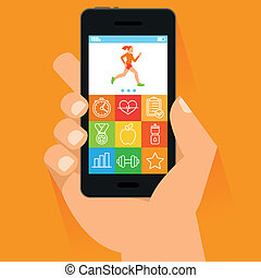 Vector mobile phone and hand in flat style - fitness app...