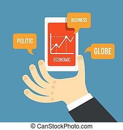 Vector mobile phone and hand with financial schedule in flat style