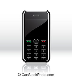 Black mobile phone isolated on white. Vector illustration