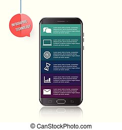 Vector mobile phone for infographic. Template for diagram, graph, presentation and chart. Business concept with 6 options, parts, steps or processes. Abstract background.??