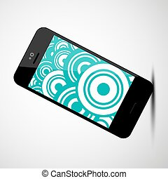 Vector Mobile Phone Icon with Retro Circles Flat Design Background on Screen