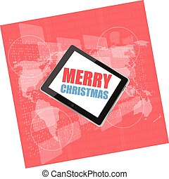 vector mobile phone tablet pc with Merry Christmas design