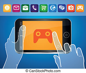 Vector mobile phone with hands and game icon