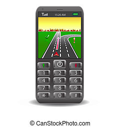 Vector mobile phones, with Global Positioning System street Map