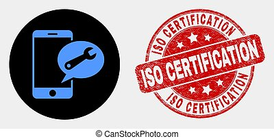 Vector Mobile Service Message Icon and Distress ISO Certification Stamp Seal