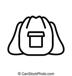 vector, mochila, holgado, ilustración, bolsillo, excursionismo, contorno, icono