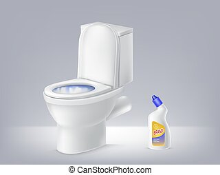 Vector mock up 3d toilet bowl, liquid disinfectant. Poster of detergent.