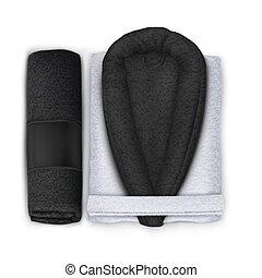 Vector. Mock Up. Black and White Set Spa Towel, Bathrobe