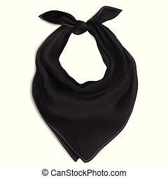 Black bandana on the neck - Vector. Mock Up. Black bandana ...