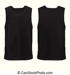 Vector Mock-up Black Man`s sleeveless shirt front+back Hip...