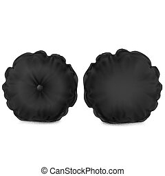 ?????? - Vector. Mock Up. Black Pillow Round vs button