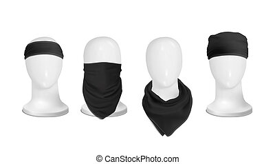 Vector. Mock Up. Black Set Bandana (buff) for head on the...