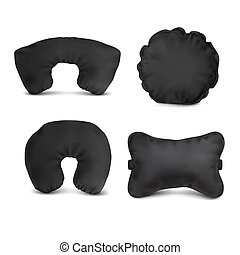 Vector. Mock Up. Black Set Pillow Auto