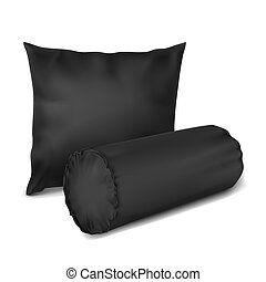 Vector. Mock Up. Black Set Pillow Cylinder, Rectangle_3 -...