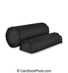 Vector. Mock Up. Black Set Pillow Cylinder_2