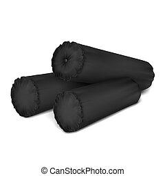 Vector. Mock Up. Black Set Pillow Cylinder_5