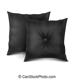 Vector. Mock Up. Black Set Pillow Rectangle