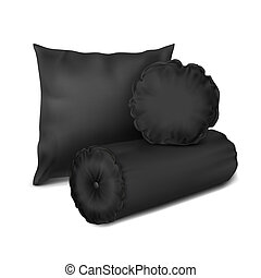 Vector. Mock Up. Black Set Pillow Round, Cylinder and...