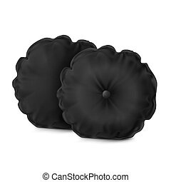 Black Set Pillow Round - Vector. Mock Up. Black Set Pillow...