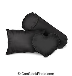 Vector. Mock Up. Black Set Pillow Square, Cylinder and Heart