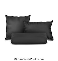 Vector. Mock Up. Black Set Pillow Square, Rectangle and...
