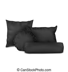 Vector. Mock Up. Black Set Pillow Square, Rectangle, Round and Cylinder
