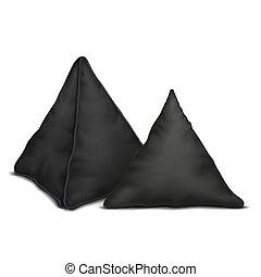 Vector. Mock Up. Black Set Pillow Triangle 1