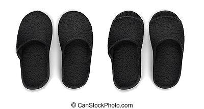 Vector. Mock Up. Black soft Slippers