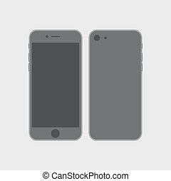 Vector mock up phone for your design. illustration of front and back phone sides