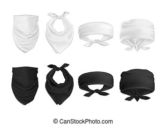 Vector. Mock Up. Set Black and White Bandana (buff)