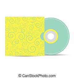 vector mock up template of blank compact disk with cover