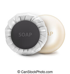 Vector. Mock Up. White round hotel Soap