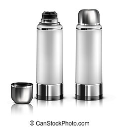 Vector. Mock Up. White Thermos