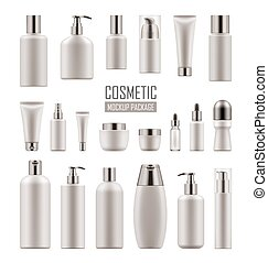 Vector mockup for cosmetic product - Set of empty realistic...