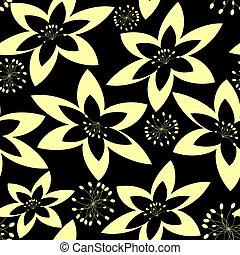 (vector), modèle, résumé, seamless, noir, floral, blanc