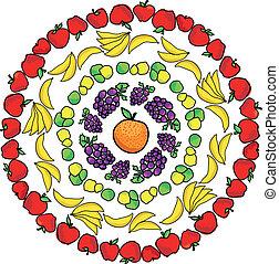 vector, model, illustratie, vruchten