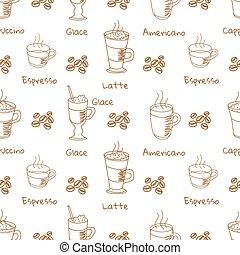 vector, model, koffie drinken, seamless