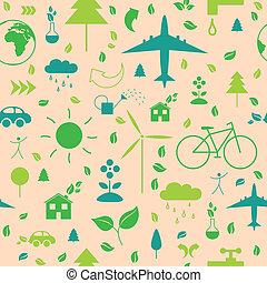 vector, model, met, ecologie, iconen