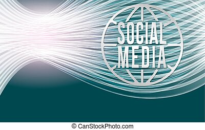 Vector modern abstract background with transparent lines and social media icon