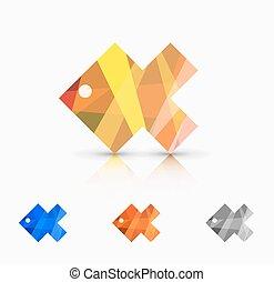 Vector modern abstract fish set
