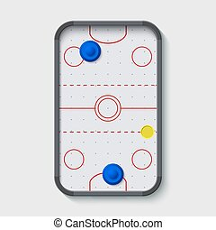 vector modern air hockey table on white