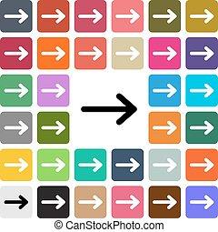 Vector modern Arrow flat design icon set in button