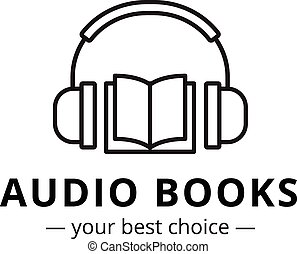 Vector modern audio books store logo. Line style book and headphones logotype.