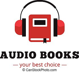 Vector modern audio books store logo. Red book and headphones logotype.