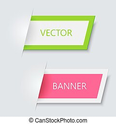 Vector modern banners on gray background.