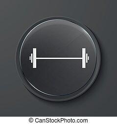 Vector modern black glass circle icon. - Vector barbell ...