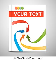 Vector Modern Book or Brochure Cover Design - Infographics Template, Layout with Arrows